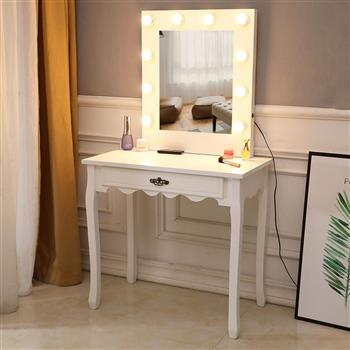 FCH Generous Mirror Single Pumping Foot With Bulb Warmer Dressing Table White