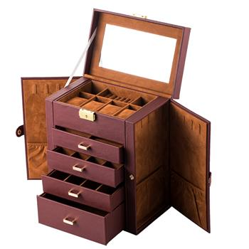 Synthetic Leather Huge Jewelry Box Mirrored Watch Organizer Necklace Ring Earring Storage Lockable Gift Case Brown