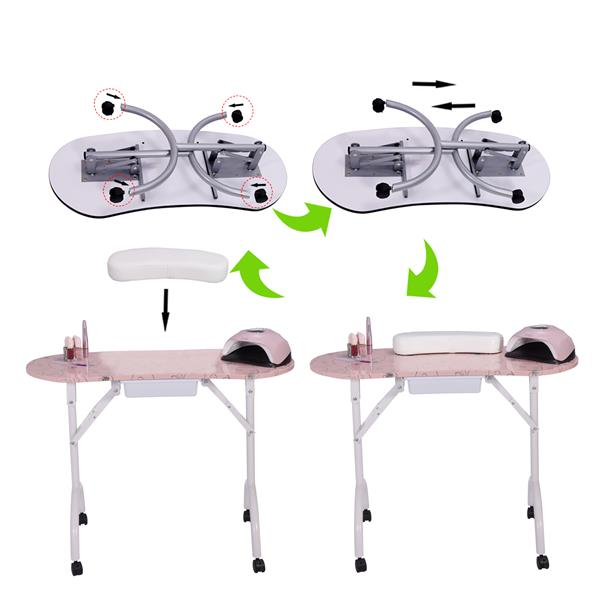 Nail table-LIFELEADS nail station portable foldable nail station spa beauty salon with lockable wheels-pink(We will temporarily not ship from February 9th, and resume delivery on February 27th)