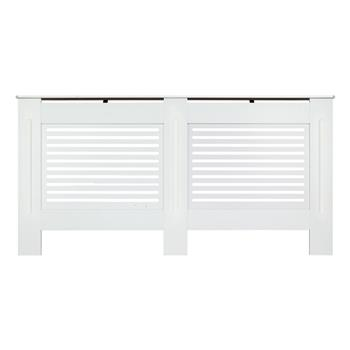 MDF Wood Radiator Cover Board Stripe Pattern White Painted XL