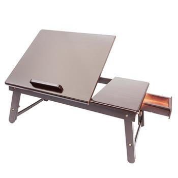 Retro Plain Design Adjustable Bamboo Lap Desk Tray Dark Coffee
