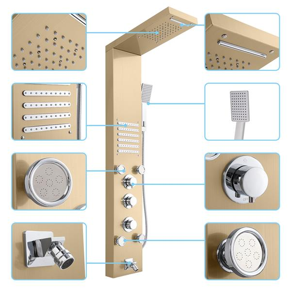 57.6 inch Shower Panel Tower System Stainless Steel 6 in 1 Multi-Function Shower Panel Golden