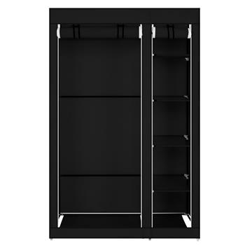 """67"""" Portable Clothes Closet Wardrobe with Non-woven Fabric and Hanging Rod Quick and Easy to Assemble Black"""