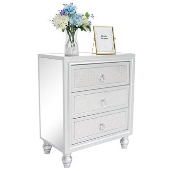 3 drawer mirrored cabinet with leather stick - Silver