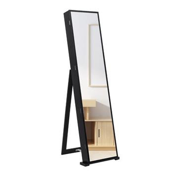 79 Blue Led Jewelry Cabinet, Jewelry Storage Cabinet, Upright Jewelry Cabinet With Long Mirror(Black)