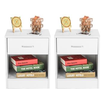 2pcs Night Stands with Drawer White