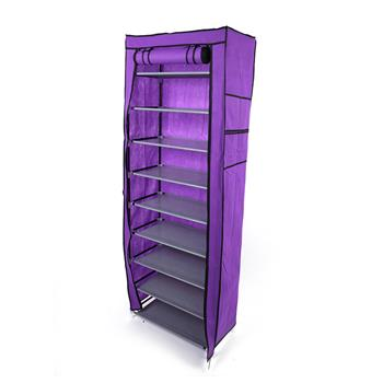Fashionable Room-saving 9 Lattices Non-woven Fabric Shoe Rack Purple