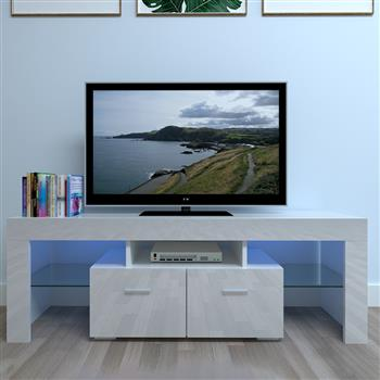 Household Decoration LED TV Cabinet with Two Drawers White