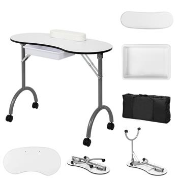 Portable Spa Beauty Manicure Station/MDF/With Hand Pillow/Bag, White And Black Border (No Pattern)