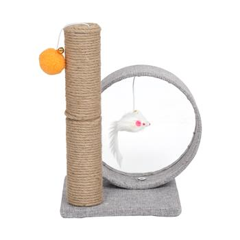 """HOBBYZOO 13"""" Cat Tree Tower with Linen Circular Ring, Toys, Light Grey"""