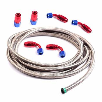 6AN 12Ft Universal Braided Stainless Steel Fuel Hose + 6pcs Rotary Swivel Hose Ends Kit