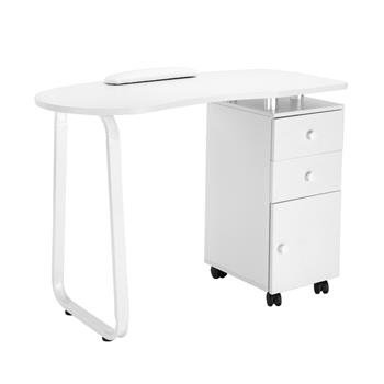 Manicure Table Unilateral Square/2 Drawers/1 Door/Ceramic Handle/With Hand Pillow/With Wheels White