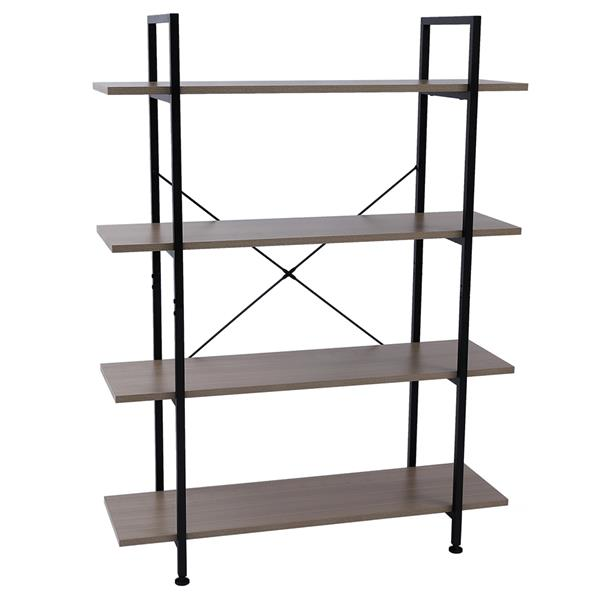 4-Tier Industrial Bookcase and Book Shelves, Vintage Wood and Metal Bookshelves,Gray