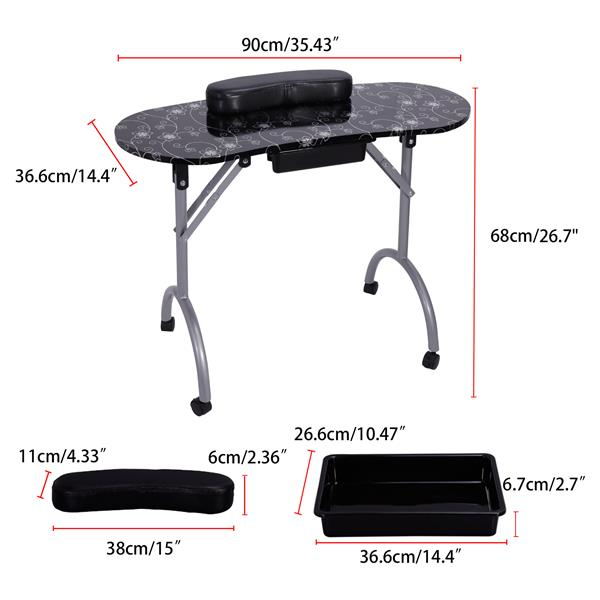 Nail Table-LIFELEADS Nail Table Portable Folding Nail Table Spa Beauty Salon with Lockable Wheel-Black(We will temporarily not ship from February 9th, and resume delivery on February 27th)