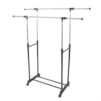 Dual-bar Vertical & Horizontal Stretching Stand Clothes Rack with Shoe Shelf YJ-04 Black & Silver