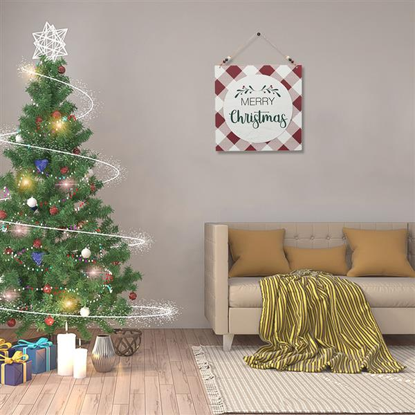 Artisasset a Square Merry Christmas Red And White Plaid Christmas Wooden Wall Hanging
