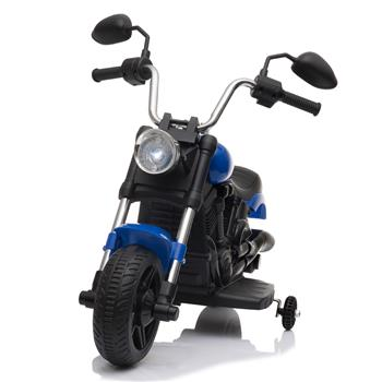 Kids Electric Ride On Motorcycle With Training Wheels 6V Blue