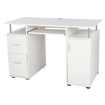 One Door Two Drawers Computer Desk White