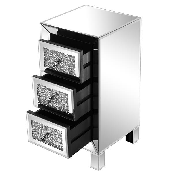 Modern and Contemporary Mirror Surface With Diamond 3-Drawers Nightstand Bedside Table