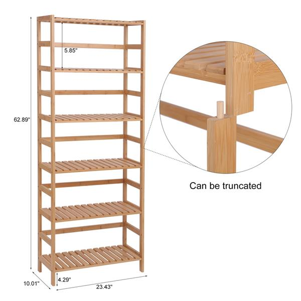 100% Bamboo Bookshelf, Multi - Functional Adjustable 6-Layer Shelf, Can Be Used In Living Room, Study, Bedroom, Etc., 60 * 26 * 161cm Natural