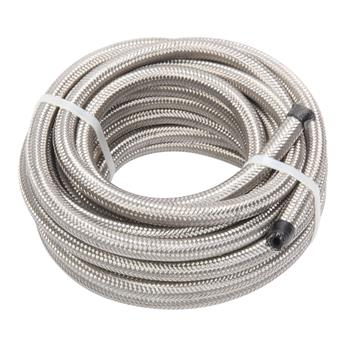 4AN 20-Foot Universal Stainless Steel Braided Fuel Hose Silver