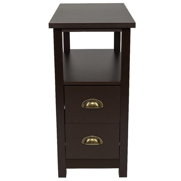 Double-tier Coffee Side Table with Two Drawers Coffee