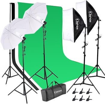 Kshioe 135W White Umbrellas Soft Light Box with Background Stand Muslim Cloth (Black & White & Green(Do Not Sell on Amazon)