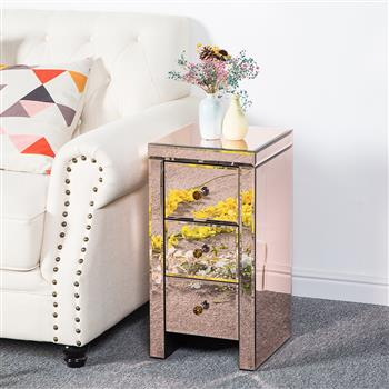 Mirrored Glass Bedside Table with Three Drawers Rose