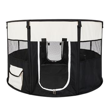"""HOBBYZOO 40"""" Circular Portable Foldable 600D Oxford Cloth & Mesh Pet Playpen Fence with Eight Panels"""