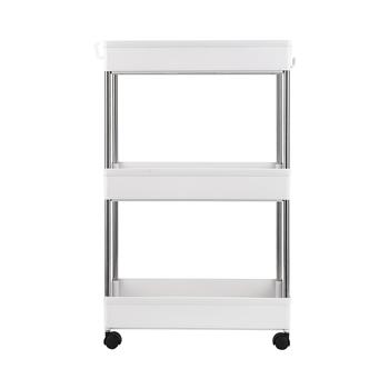 3-Layer Mobile Multi-functional Storage Cart,Suitable for Kitchen, Bathroom, Laundry Room Narrow Place, Plastic and Stainless Steel, White