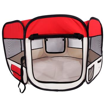 """HOBBYZOO 45"""" Portable Foldable 600D Oxford Cloth & Mesh Pet Playpen Fence with Eight Panels  Red"""