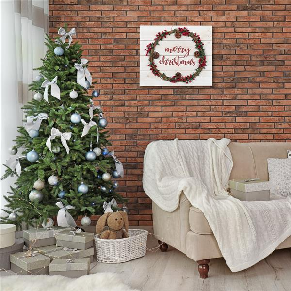 Artisasset a Wooden Wall Hanging With Merry Christmas Garland