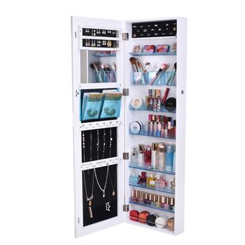 Full Mirror Makeup Mirror 8-layer Acrylic Storage Cabinet Solid Wood Covered Jewelry Mirror Cabinet White