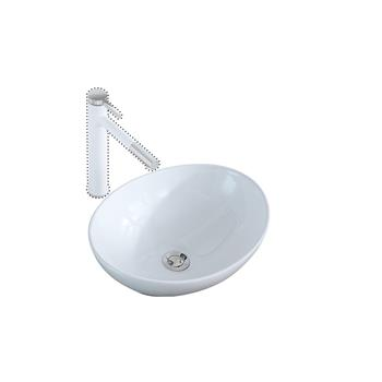 Bathroom Above Counter Egg Shape Oval Bowl Ceramic Vessel Vanity Sink Art Basin - White Porcelain - with Pop Up Drain Stopper