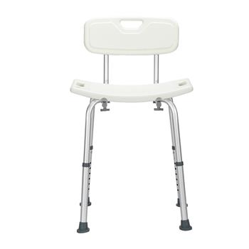 Aluminum Alloy Lifting Bath Chair 8 Files With Backrest PE Seat Stool Rubber Floor Mat White