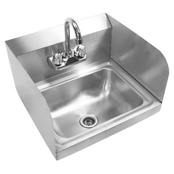 "17"" Commercial Stainless Steel Wall-mounted Hand Sink with Side Splashes Silver"