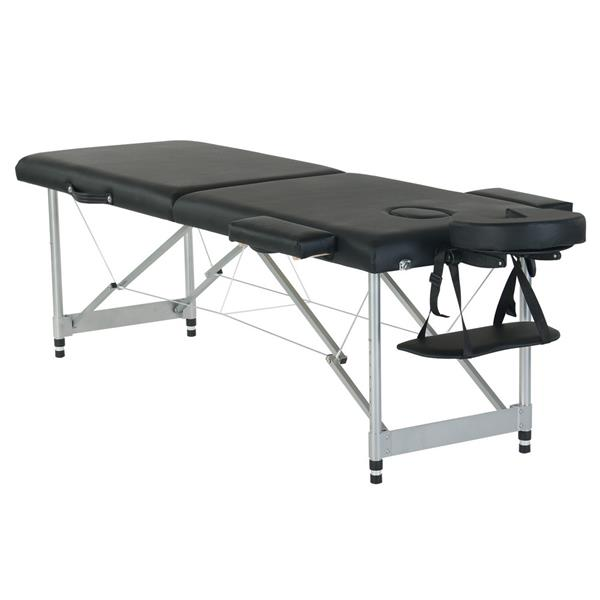 "84"" 2 Sections Folding Portable Aluminum Foot Beauty Massage Bed 60CM Wide Adjustable Height Black"