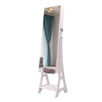 Full Mirror Makeup Mirror Cabinet 2-Pull 4-Layer Storage Cabinet Can Be Placed On The Base Of The Floor, Painted Jewelry Mirror   Cabinet White