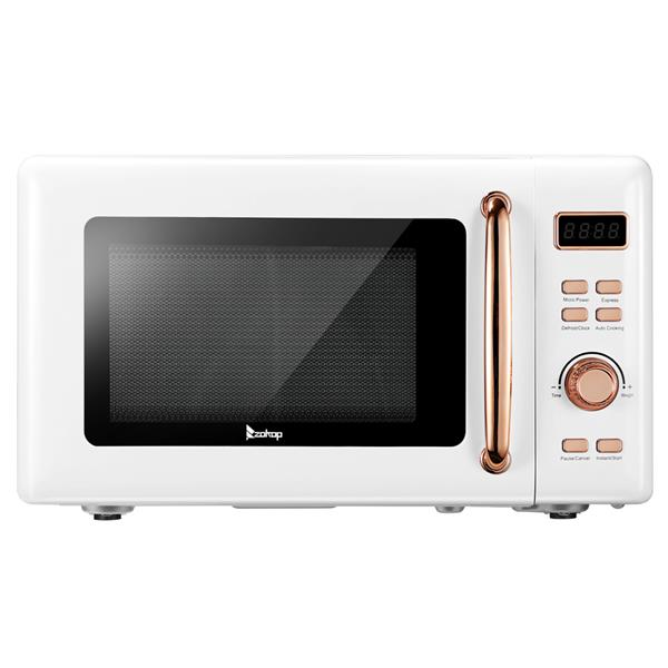 ZOKOP B20UXP52 / White 20L/0.7Cuft Retro Microwave with Display / Gold Handle