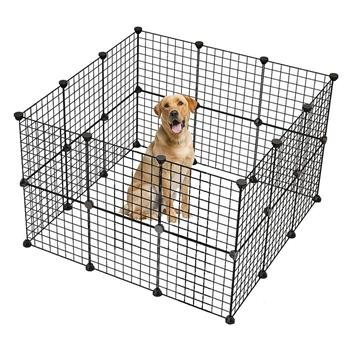 Pet Playpen, Small Animal Cage Indoor Portable Metal Wire Yard Fence for Small Animals, Guinea Pigs, Rabbits Kennel Crate Fence Tent Black 24pcs (And 6pcs For Free)
