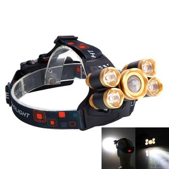 Newest 3.7V 2400LM 5T6 Flexible Zoom Highlight Outdoor Lighting Aircraft Head Headlamp Golden