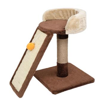 """HOBBYZOO 17"""" Cat Tree Tower with Scratching Board Ladder, Jump Platform, Toy, Brown"""