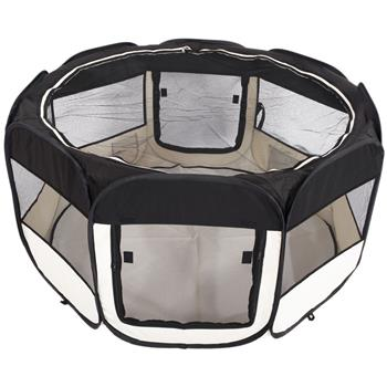 """HOBBYZOO 45"""" Portable Foldable 600D Oxford Cloth & Mesh Pet Playpen Fence with Eight Panels  Black"""