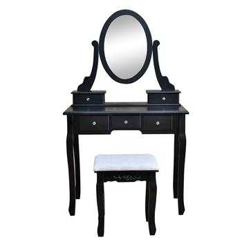 360° Rotation Single Mirror 5 Drawers Dressing Table Black