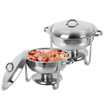 ZOKOP 5L-1*2 Single Basin Two Set Stainless Steel Round Buffet Stove