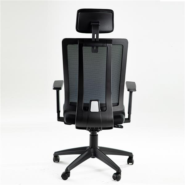Office Ergonomic Chair High-Back Task Chair Lumbar Mesh Support Computer Chair Desk Chair Multifunction Executive Swivel with Head & Arm Rests Black