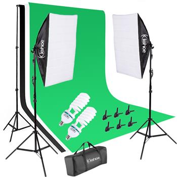 Kshioe 135W Soft Light Box with Background Stand Muslim Cloth (Black & White & Green) Set US Standar(Do Not Sell on Amazon)