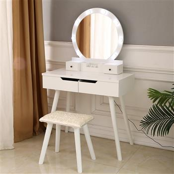 FCH Dressing Table with Single Round Mirror with Bulb & 4 Drawers White