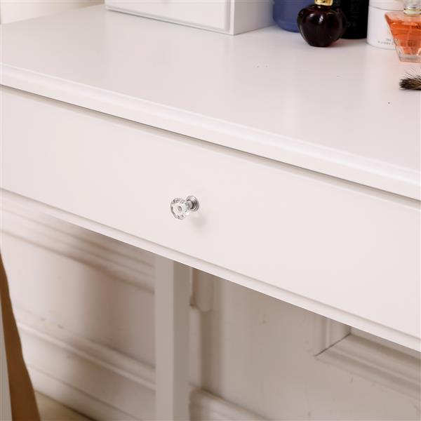 Exquisite 360-Degree Rotary Mirror 3-Drawer MDF Dressing Table White