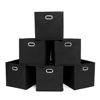 Foldable Fabric Storage Bins Set of 6 Cubby Cubes with Handles Black